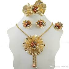 bridal necklace set gold images Dubai gold color jewelry sets nigerian wedding african beads jpg