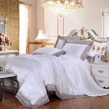 snow white and silver romantic paisley park elegant vogue western style lace edge jacquard design girls full queen size bedding sets