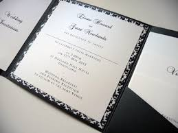 pocket fold navy ivory damask themed pocketfold wedding invitation with flat