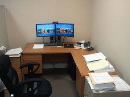 Desk For Dual Monitor Setup Monmount Dual Lcd Monitor Desk Clamp Within Dual Monitor Desk Plan