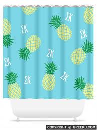Aqua Blue Shower Curtains Sigma Kappa Pineapple Blue Shower Curtain Greek U