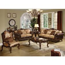 Leather And Fabric Living Room Sets Remington Traditional 3 Pc Bonded Leather And Fabric Sofa Set