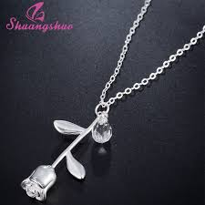 personalized charm necklaces shuangshuo delicate 3d flower necklaces pendants personalized