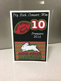 south sydney rabbitohs birthday card rugby leah u0027s paper cuts and