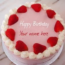 write name on strawberry birthday cake profile pic
