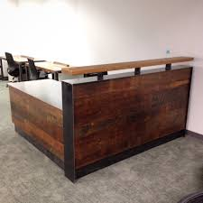 Reception Desk Wood Wood Steel Reception Desk
