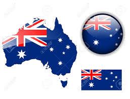 Austailia Flag Australia Australian Flag Map And Glossy Button Royalty Free