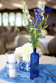 Blue Wedding Centerpieces by Cobalt Blue And Yellow Wedding Centerpiece Diy Vintage Toile