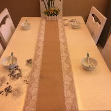 Burlap Lace Table Runner 1pc 30x275cm Burlap Lace Hessian Table Runner Jute Country Outdoor