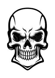 angry human skull with eerie grin isolated on white background