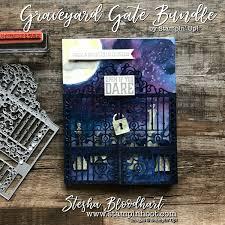 a spooky and fun graveyard gate halloween card graveyards