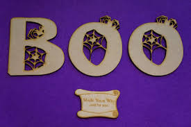 mdf halloween boo letters 8 9cm 80 90mm x 3mm laser cut wooden