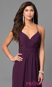 eggplant purple long prom dress with v neck promgirl
