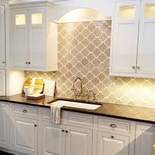 Kitchen Sinks With Backsplash Gray Arabesque Moorish Tile Backsplash Black Quartz Counters