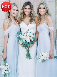 cheap light blue bridesmaid dresses a line off the shoulder floor length light blue chiffon bridesmaid