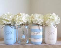 baby shower mason jar centerpieces nautical theme painted