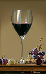 still life wine glass with grapes