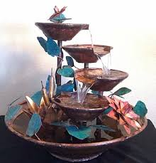 large sized handcrafted copper table fountains