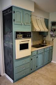 Furniture Wooden Chalk Paint Cabinet With Stove And Oven Placed - Painting kitchen cabinets chalkboard paint