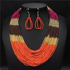 multi layered beaded necklace images Boho bohemian ethnic jewelry sets long multi layer strand beaded jpg