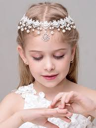 flower hairband flower girl party dress matching pearl hairband with free shipping