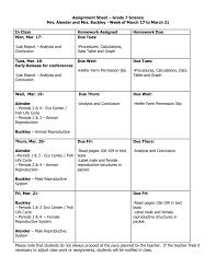 assignment sheet u2013 grade 7 science