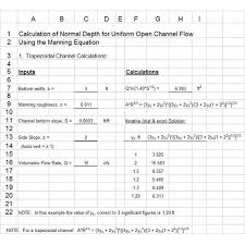 use of excel spreadsheets for manning equation normal depth