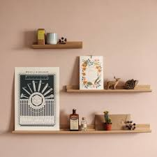 Wood Gallery Shelves by Oak Picture Ledge Accessory Shelves