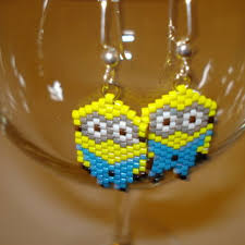 minion earrings handmade delica seed bead two eyed minion from krrb local