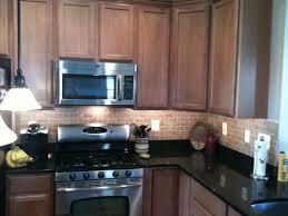 Brick Tile Backsplash Kitchen Toffee Cabinets Black Granite Sandy Brick Tile Backsplash