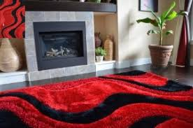 fashion style soft shag area rugs red black color abstract pattern