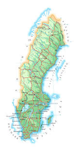 map of sweden detailed elevation map of sweden with roads cities and airports