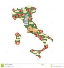 Italian Map Map Of Italy Traditional Italian Food Symbols Pizza And Pasta
