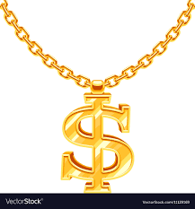necklace chains hip hop images Gold dollar symbol on golden chain hip hop vector image jpg