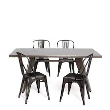 Galvanized Outdoor Chairs 4 Terek Chairs Dull Galvanized 1 Traddo Table 150x90 Packs Tolix A