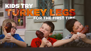 turkey legs for thanksgiving kids try turkey leg for the first time at universal orlando youtube