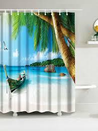 hawaii beach print waterproof bathroom shower curtain sky blue w