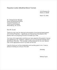 Rejection Letter Recruitment Agency rejection letters 10 free word pdf format free
