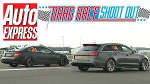 audi rs6 vs audi rs6 vs mercedes c63 amg black series drag race shoot out