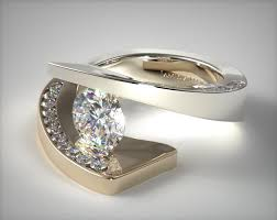 tension engagement rings 9006w14 pave twist tension set engagement ring 14k
