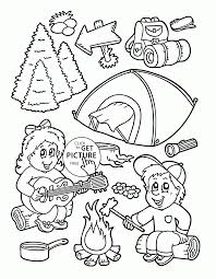 camping in summer coloring page for kids seasons coloring pages