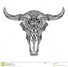 psychedelic bull auroch skull with horns on white background