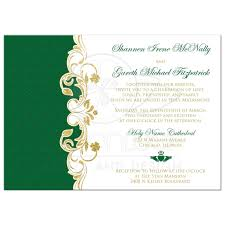 lucky in love wedding invitation white green gold scrolls