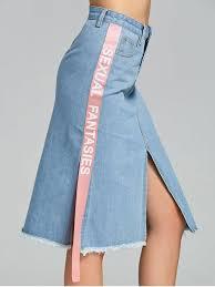 denim skirts slit side letter denim skirt light blue skirts m zaful