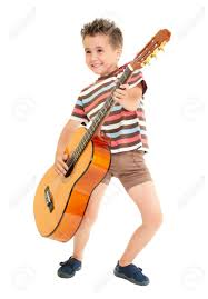 little boy plays guitar country rock style isolated on white stock