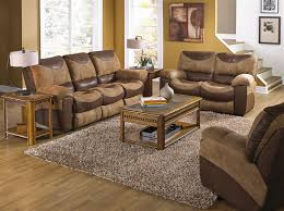 Dual Rocking Reclining Loveseat Portman Chaise Rocker Recliner In Two Tone Chocolate And Saddle