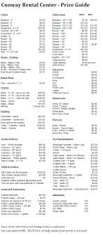 rental price price list conway rental center wedding special