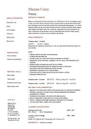 Sample Resume Format Resume Template by Nanny Resume Example Sample Babysitting Children Professional