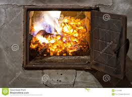 burning wood coals in a furnace royalty free stock images image
