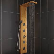 colonne de colonne de hydromassante avec robinetterie aspect bois